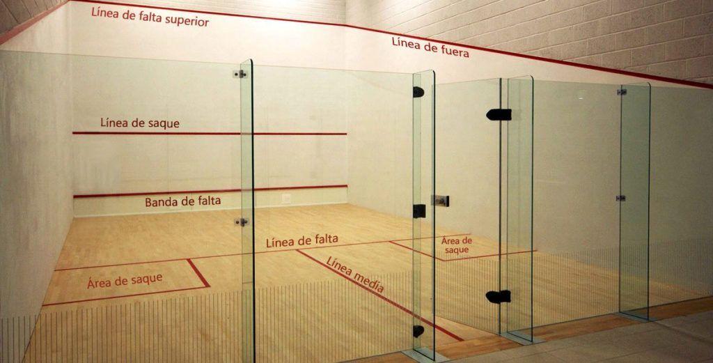 Las líneas en la pista de squash